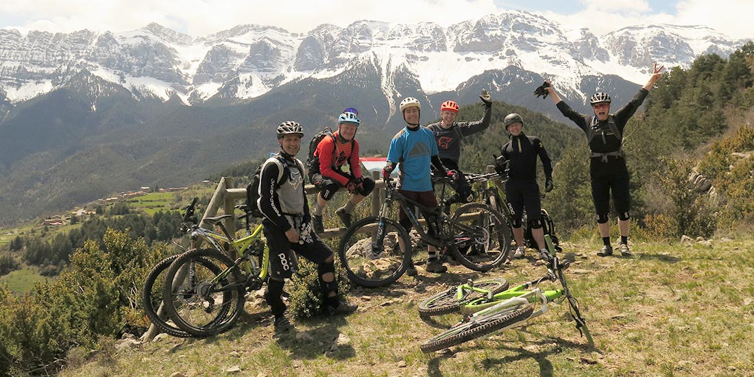 Enduro riders in Pyrenees